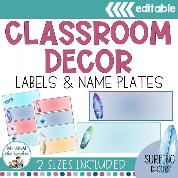 surfing labels classroom decor